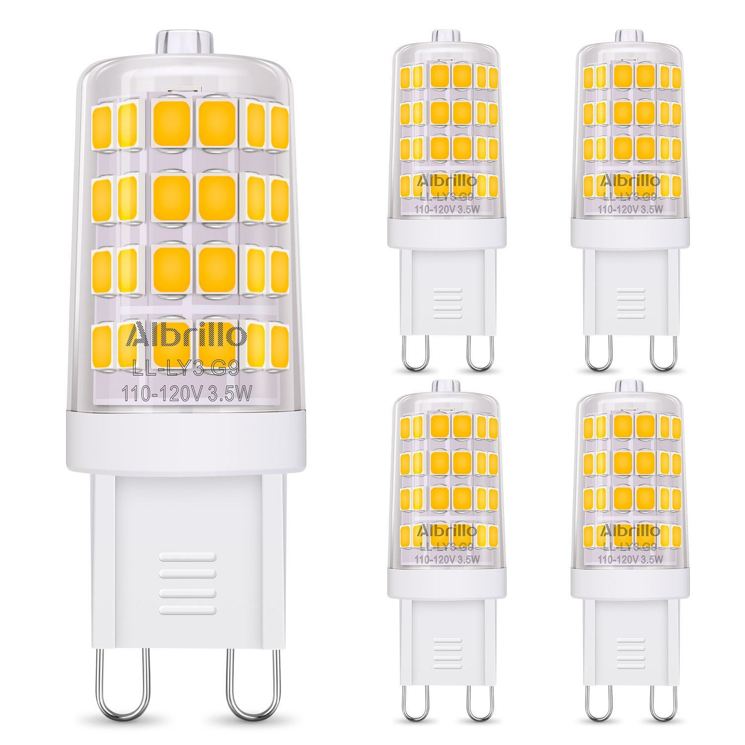 Albrillo Dimmable G9 LED Bulb, 40W Halogen Bulb Equivalent LED Light Bulbs for Chandelier, Wall Sconce, Warm White 3000K, Bi Pin, 5 Pack