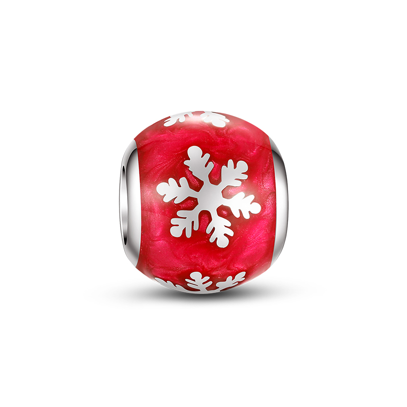 Light and chic Small and exquisite snowflake red enamel beads jewelry 925 silver