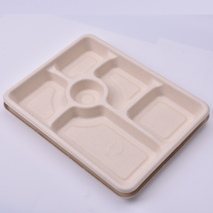 Eco friendly rectangular bagasse one time use 6 compartment microwave meal food tray disposable with lid