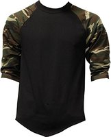 Best selling top quality 100 cotton plain blank mens black t shirt with camo sleeves