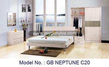 Mdf houten slaapkamer set met bed night stand kledingkast dresser