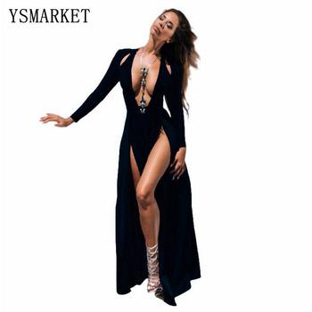 Nova Celebridade Kim Kardashian Profundo Decote Em V Manga Comprida Dividir Prom Vestido Maxi Alta Double Side Alta Fenda Vestido De Noite Longo