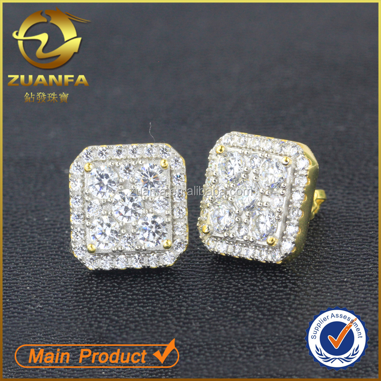 stud earrings wholesale alibaba hip hop lab diamond gold men iced out jewelry