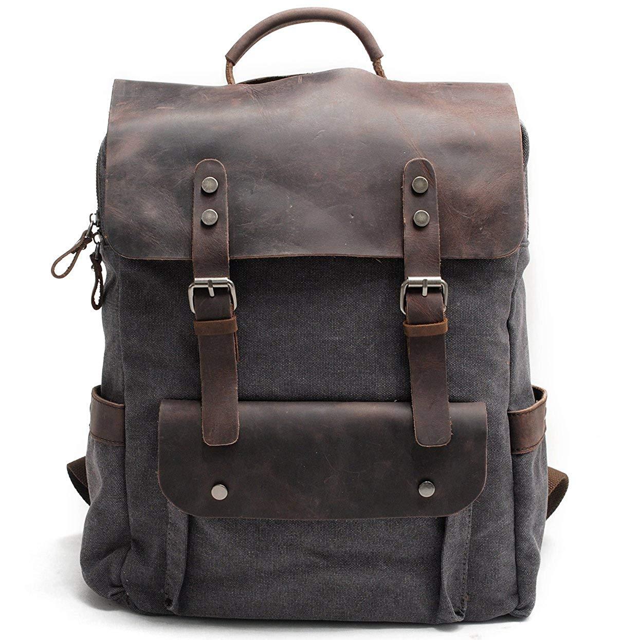 Genda 2Archer Men Canvas Backpack Casual Shoulder Bag Large Capacity Rucksack