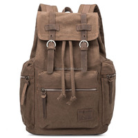 Retro design college backpack fashionable casual canvas laptop backpack