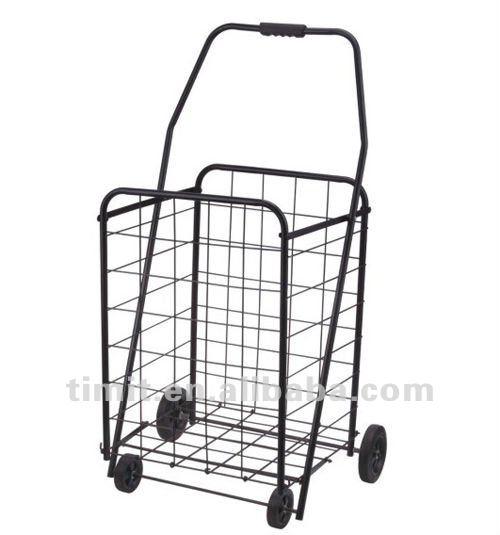 conception simple pratique fer 4 roues pliable noir caddie. Black Bedroom Furniture Sets. Home Design Ideas