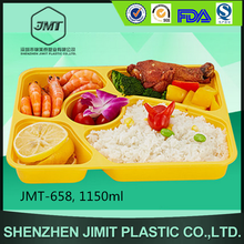 New design 1150 ml rectangle plastic food tray 5 compartment with lid JMT-658