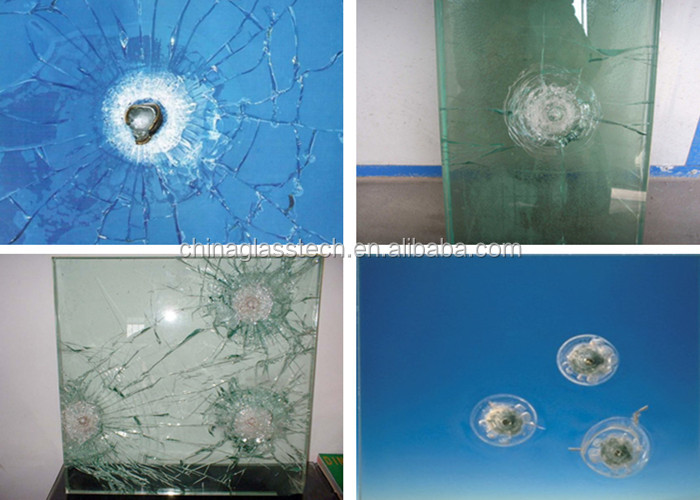 Safety white PVB 0.38mm laminated 20mm bulletproof glass