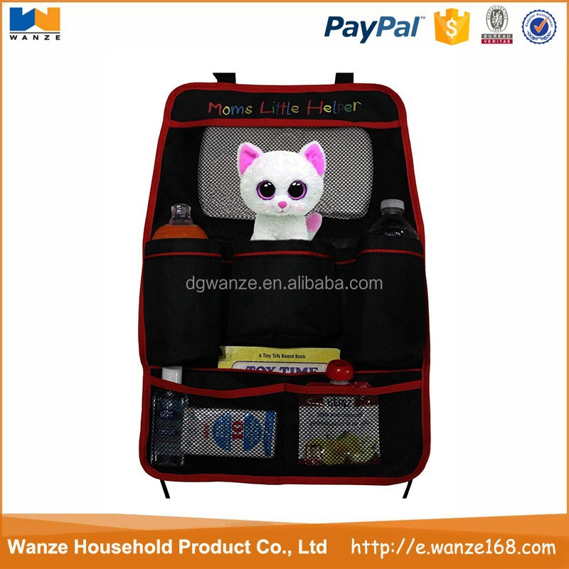 Dongguan factory price ployester auto car backseat organizer for kids with 5 pockets