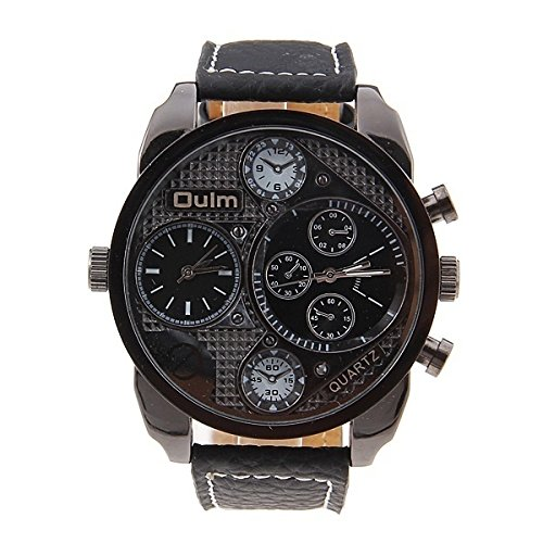 OULM Luury Men's Military Wrist Watch Vintage Quartz Movement PU Leather Strap