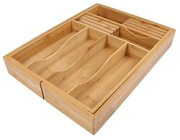 Expandable and Adjustable 8 Compartments Bamboo Drawer Organizer Cutlery Tray with Removable Knife Block