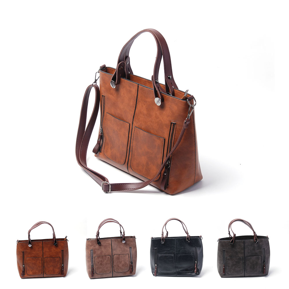 Wholesale Double Pockets PU Tote Bag Women PU <strong>Handbags</strong> Fashionable PU Totes Ladies Casual Leather <strong>Handbags</strong> DOM-108757