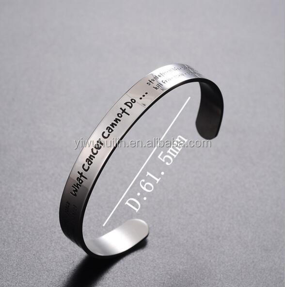 MS015 Yiwu Huilin Jewelry What cancer cannot do Stainless Steel Cuff Open Bangle Bracelet