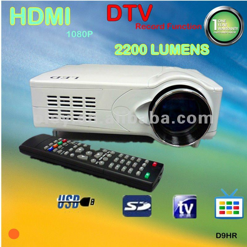 built-in tv tuner projector 1080p with usb/sd/record function