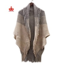 Custom wholesale tassels bat sleeve wool cashmere acrylic pocket turtleneck knitted ladies women poncho sweater