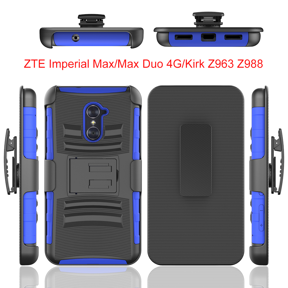 Anti-shock silicone pc hybird combo case cover with ring kick stand forZTE imperial Max/Max Duo <strong>4G</strong>/Kirk Z963 Z988