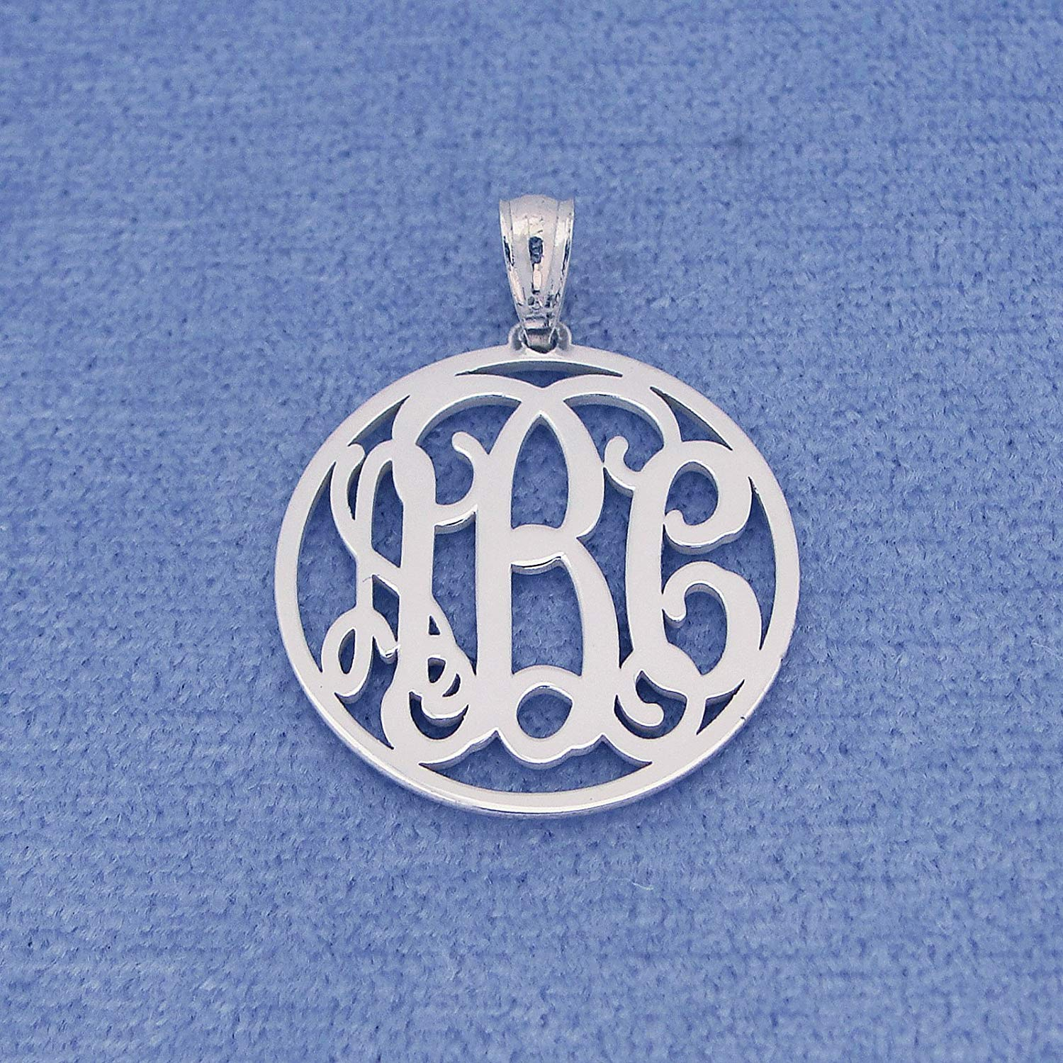 3 Initials Monogram Pendant 3/4 Inch Solid Sterling Silver Personalized Monogrammed Gift SM41