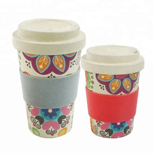 Popular eco friendly 350ml bamboo fiber cup 16oz tall coffee travel mug
