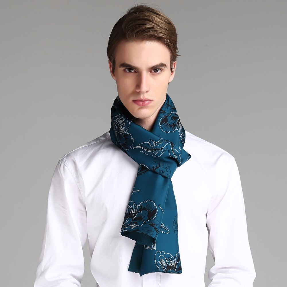 Mens Double-layer 100% twill silk 100% wool winter scarf