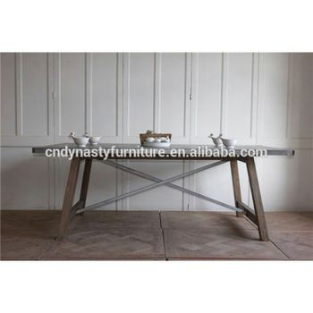 Rustic Style Interior Furniture Wooden Legs Zinc Metal Top Dining Table