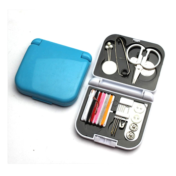 Mini portable emergency travel sewing kit with plastic carrying case