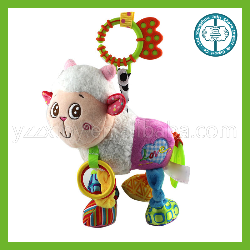 Lamb with pull earthquake rattles ring paper lathe hang baby toys 0-1 years