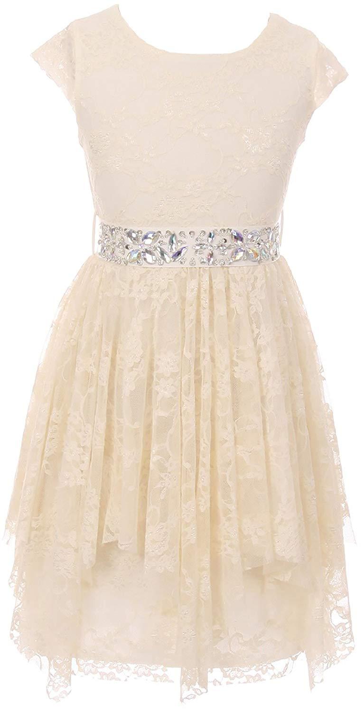 a3a3344a11e Get Quotations · Cap Sleeve Girls Dress Floral Lace Rhinestones Waistband Flower  Girl Dress