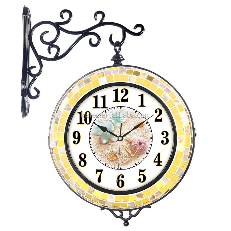 Rústico retro ronda negro marco de metal Reloj de pared-Relojes de ...