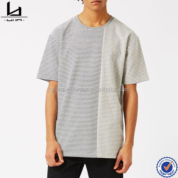2017 New arrival oversize fit men crew neck tee with half spliced design