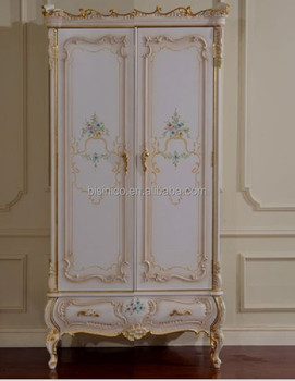 Italy Flower Hand Painted Bedroom Furniture Goild Foil Trim Two Doors Wardrobe For Kids