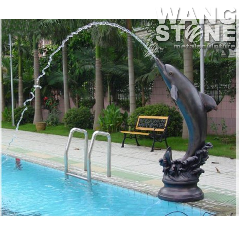 Swimming Pool Sculpture Bronze Outdoor Dolphin Water ...