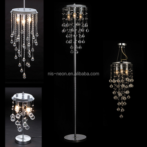 Luxury Wedding Decoration Lighting Crystal Hanging Droplets Chandelier Table Standing Floor Lamp NS-122007