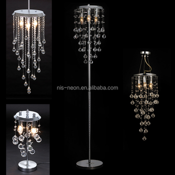 Luxury Wedding Decoration Lighting Crystal Hanging Droplets Chandelier Table  Standing Floor Lamp NS 122007