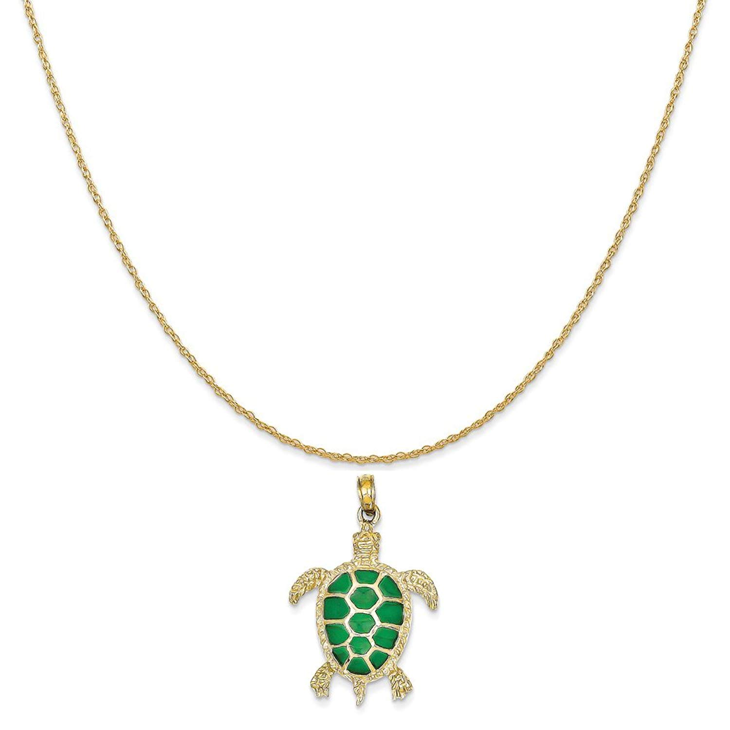 c73cb116d769c Get Quotations · 14k Yellow Gold Green Translucent Acrylic Sea Turtle  Pendant on a Rope Chain Necklace