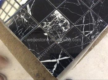 High smalto nero marquina mattonelle di mosaico nero con venature