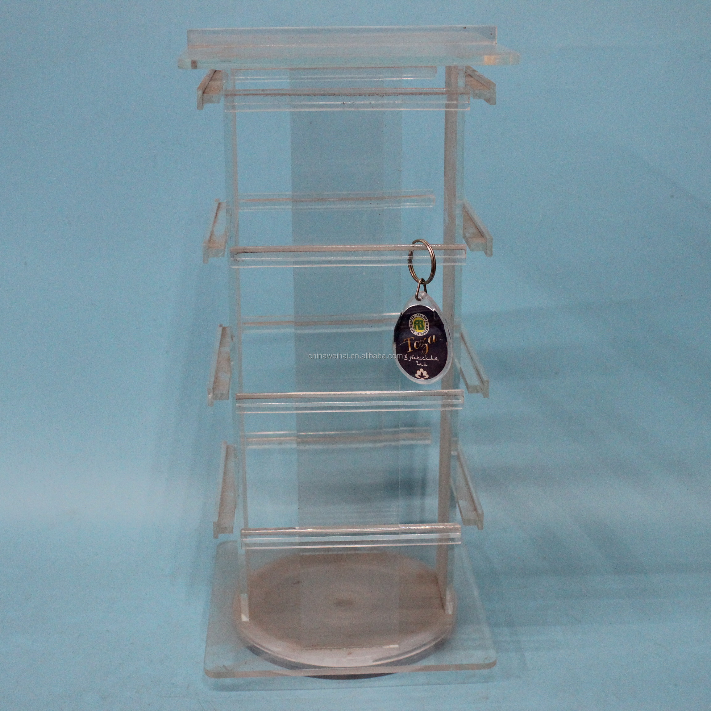 4Side Clear Acrylic Rotating  Display Stand Jewelry