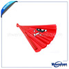 red plastic hand fan