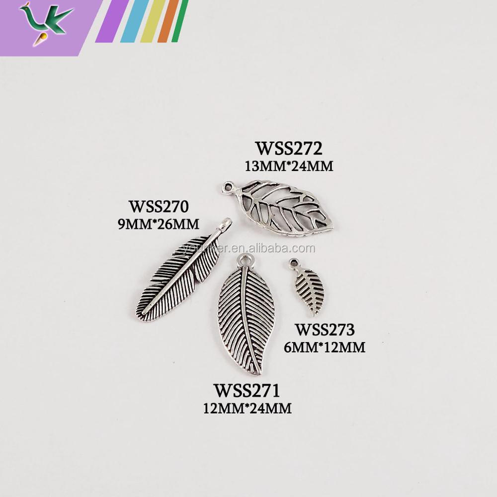 Custom designed engraved alloy metal leaf jewelry charms