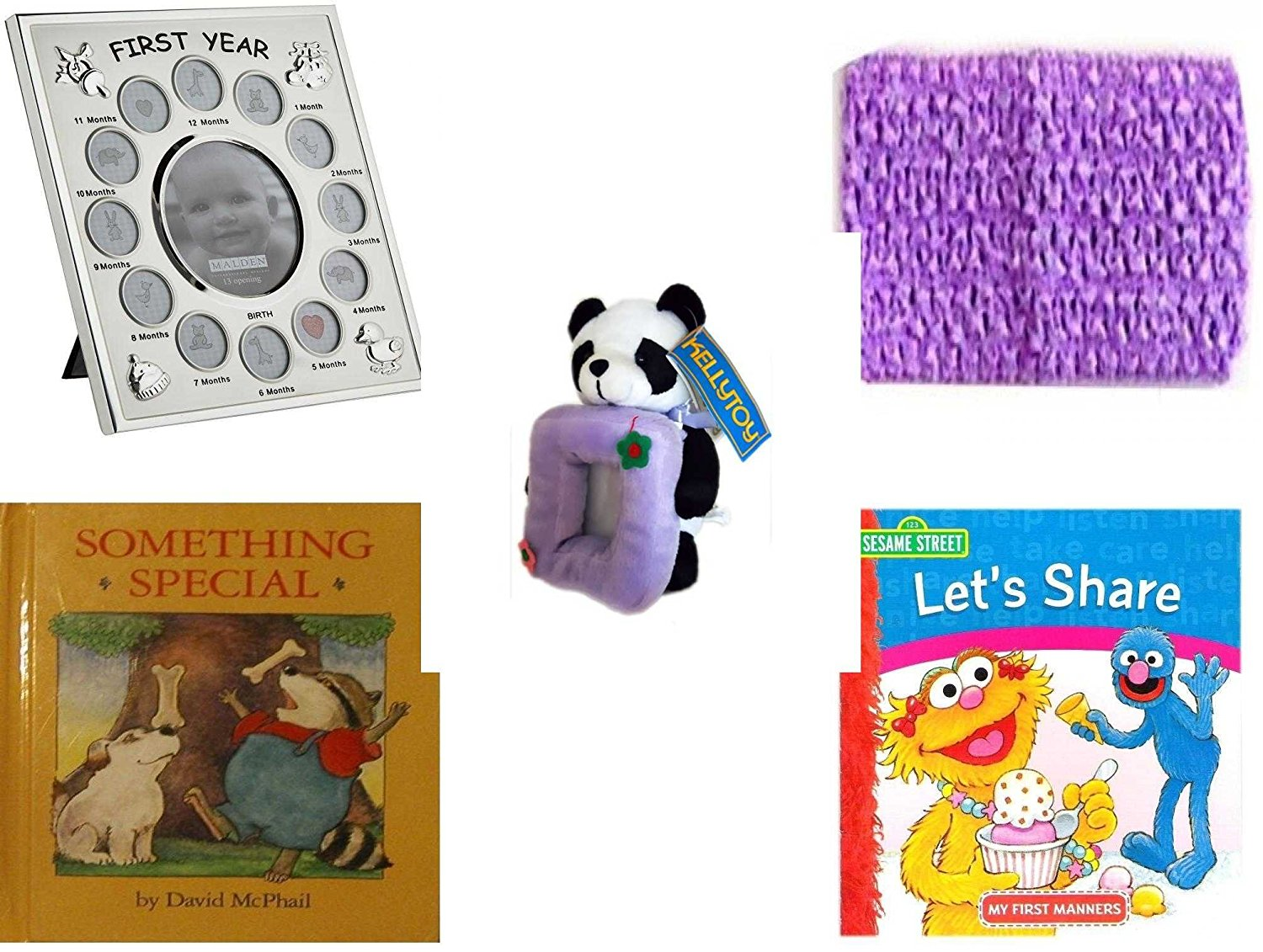 """Children's Gift Bundle - Ages 0-2 [5 Piece] - Malden Baby's First Year Collage Picture Frame - Baby Crochet Headband Lavender - Kellytoy Panda Bear Photo Frame Plush 7"""" - Something Special - Sesame"""