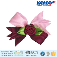 Low cost polyester material satin ribbon artificial flower wholesale