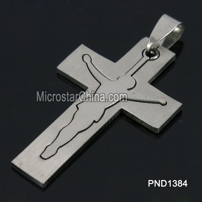 202L 43*27*2mm Hot Sale Stainless Steel Cross Suffering Jesus Christ Pendant