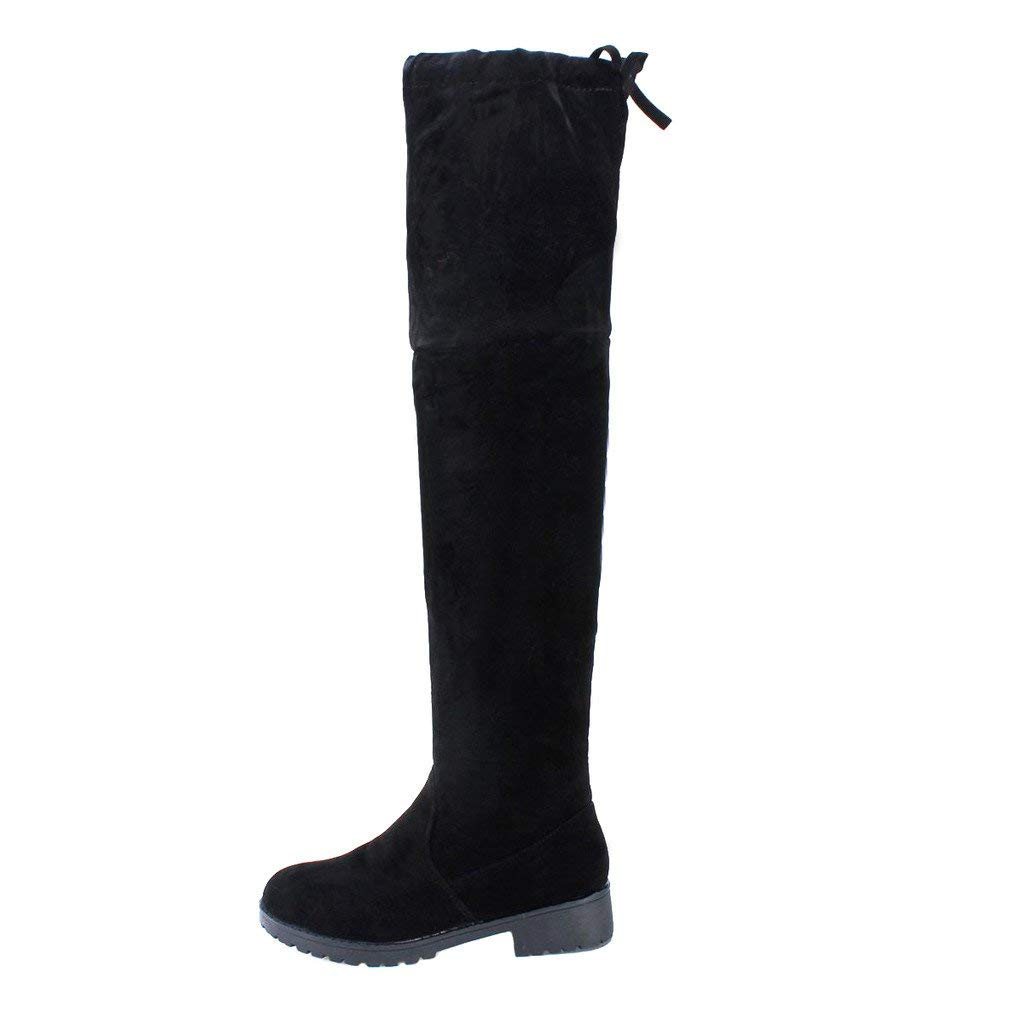 Women Flat Faux Suede Over the Knee Boots Grey - Deylay Womens Over the Knee High Flat Ladies Long Faux Suede Thigh High Boots Black