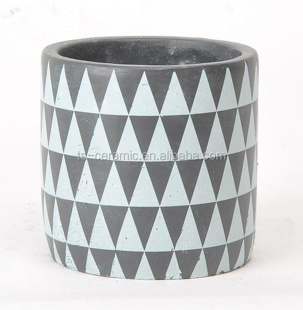 Geometric pattern living art garden small planter pot mini cement pot for flowers