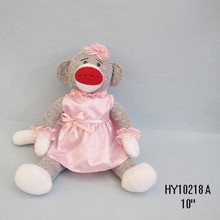 Pink color High Quality wholesale sock Monkey Plush Toys for girl