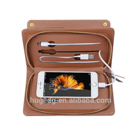 Custom multifunctional leather wallet with power bank