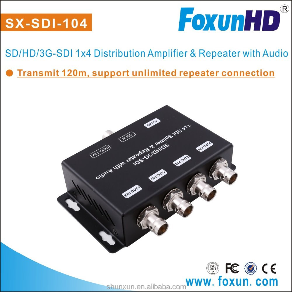 SX-SDI-104 1x4 supports SD-SDI, HD-SDI, 3G-SDI up to 1320 Ft (1 input and 4 outputs)SDI Splitter Transmitter and Receiver