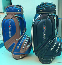 Golf bag stocks blue black Crystal PU Leather golf caddy bag custom men golf cart bag