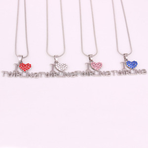 I Love Twirling Blue Pink Clear Red Rhinestone Heart Pendant Twirl Sports Necklace