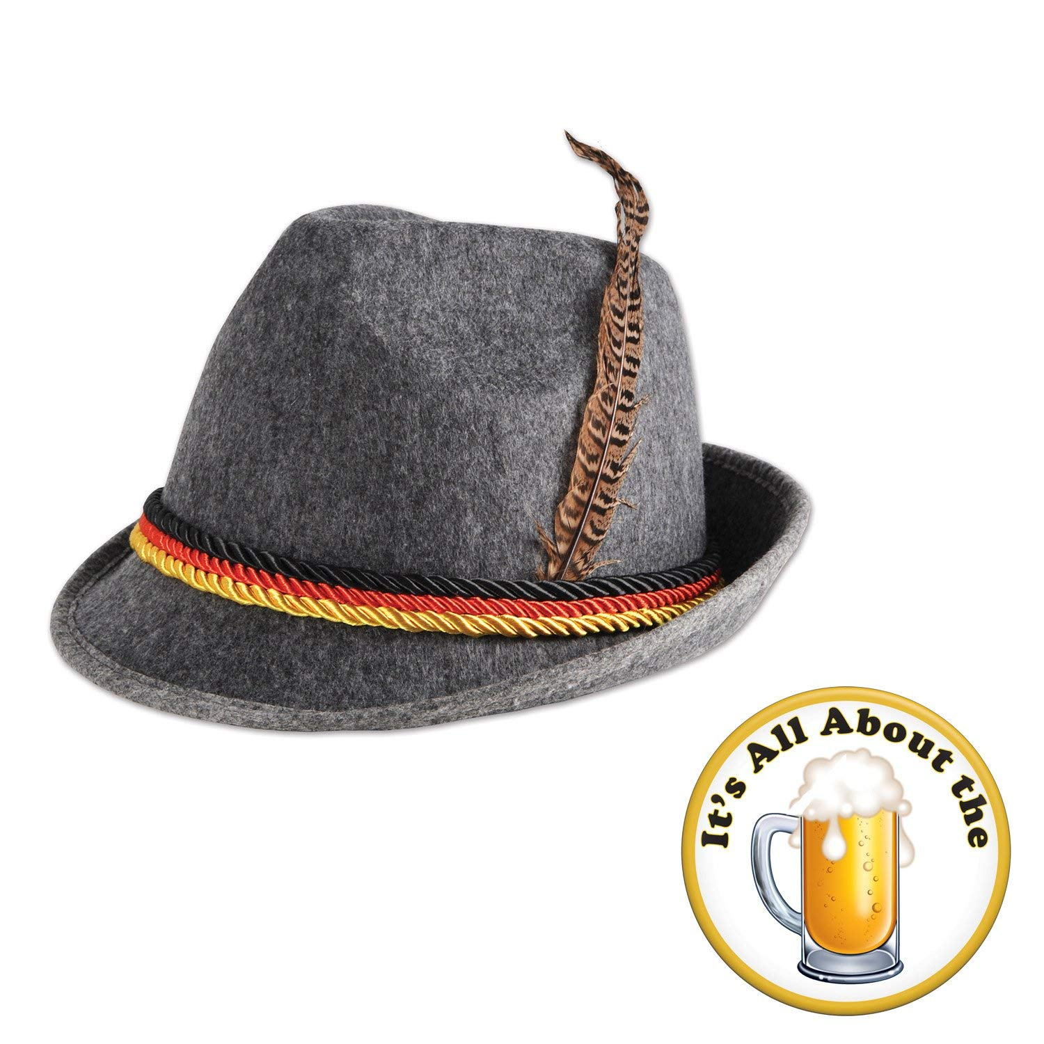 33fcb16726e Oktoberfest German Alpine Hat All About the Beer Button 2 Piece Bundle Set