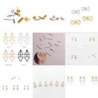 Newest Design Customized Tiny Architectural Triangle Hexagon 925 Silver Studding Geometric Silver Earrings